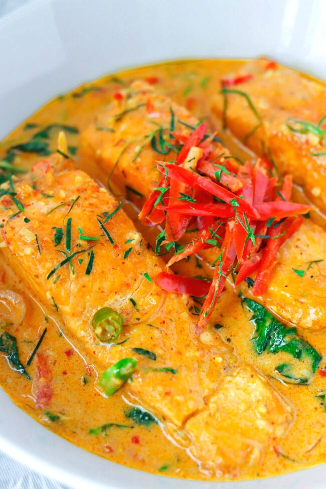 Close up front view of red curry sauce salmon in bowl.
