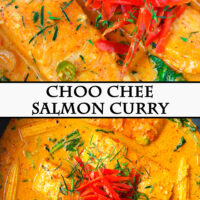 "Front view of Thai salmon curry in a white round serving bowl and top view in a wok. Text overlay ""Choo Chee Salmon Curry""."