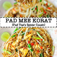"Fork holding up bite of noodles and plate with stir-fried noodles. Text overlay ""Pad Mee Korat (Pad Thai's Spicier Cousin)""."