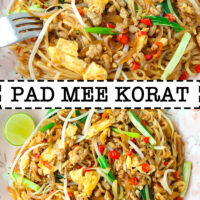 "Front view of plate with stir-fried noodles and fork, and top view of plate with stir-fried noodles. Text overlay ""Pad Mee Korat""."