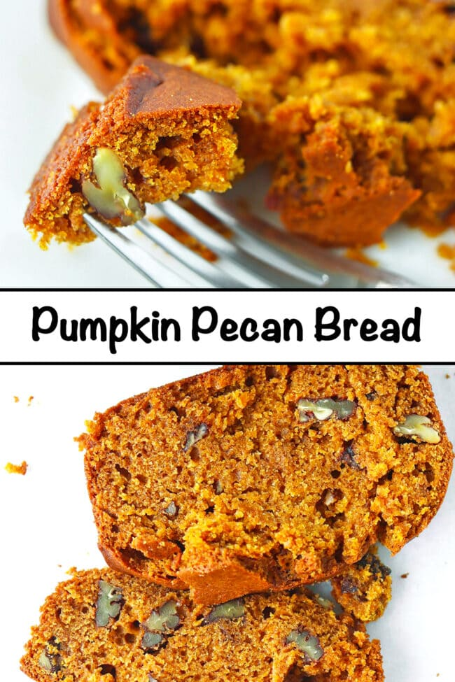 """Fork with a bite of bread and close up of two slices of bread. Text overlay """"Pumpkin Pecan Bread""""."""