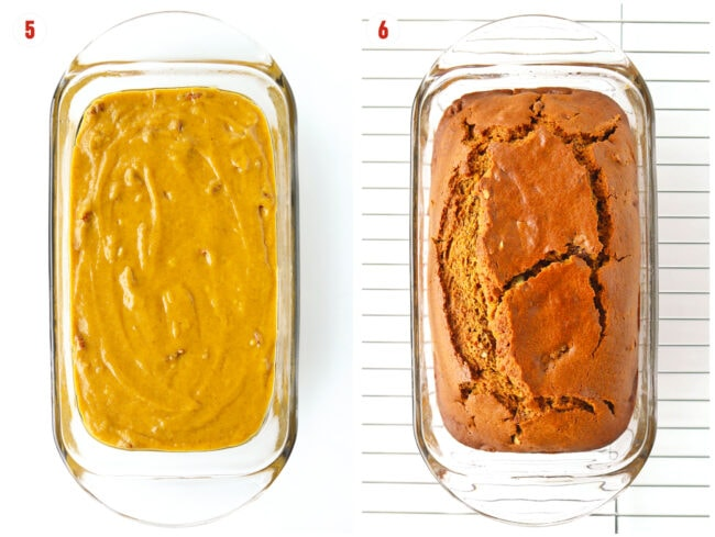 Collage of unbaked batter and baked loaf in a glass loaf dish.