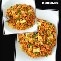 "Collage with two photos of stir-fried Korean noodles dish on a plate. Text overlay ""Stir-fried Kimchi Chicken Noodles"" and ""thatspicychick.com""."