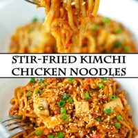 "Fork holding up a bite of noodles and plate with noodles dish. Text overlay ""Stir-fried Kimchi Chicken Noodles""."