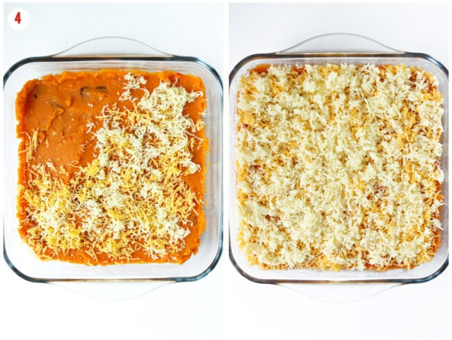 Assembling sweet potato bacon mash and cheese layers in a 8-inch square glass dish.
