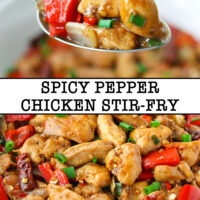 "Spoon holding up a bite of chicken, bell pepper, and onion, and close-up of Chinese chicken pieces. Text overlay "" Spicy Pepper Chicken Stir-fry""."