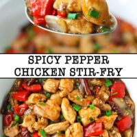 "Spoon holding up a bite of chicken, bell pepper, and onion, and top view of a Chinese chicken stir-fry in a bowl. Text overlay "" Spicy Pepper Chicken Stir-fry""."