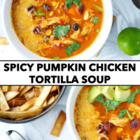 """Top view of bowls with soup, tortilla strips, wedge on a cheese on grater. Text overlay """"Spicy Pumpkin Chicken Tortilla Soup""""."""