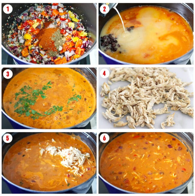 Process steps for making Spicy Pumpkin Chicken Tortilla Soup.