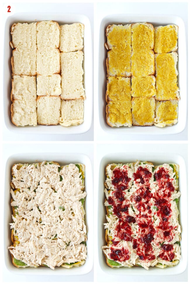 Assembling bottom bread rolls, honey Dijon mustard, chicken salad, and cranberry sauce layers in large baking dish.