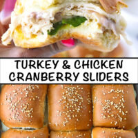 "Hand holding up a slider with a bite taken out, and close-up top view of baked sliders. Text overlay, ""Turkey & Chicken Cranberry Sliders""."