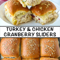 "Three sliders stacked on a plate, and close-up top view of baked slider buns. Text overlay, ""Turkey & Chicken Cranberry Sliders""."
