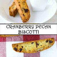 """Two biscotti on plate with cup of coffee, and on a red and white checkered napkin. Text overlay """"Cranberry Pecan Biscotti""""."""