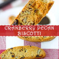 """Hand holding up a biscotti with a bite taken out, and biscotti on a red and white checkered napkin. Text overlay """"Cranberry Pecan Biscotti"""" and """"thatspicychick.com""""."""