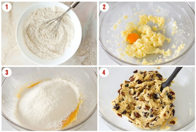 Process steps to make dough for Cranberry Pecan Biscotti.