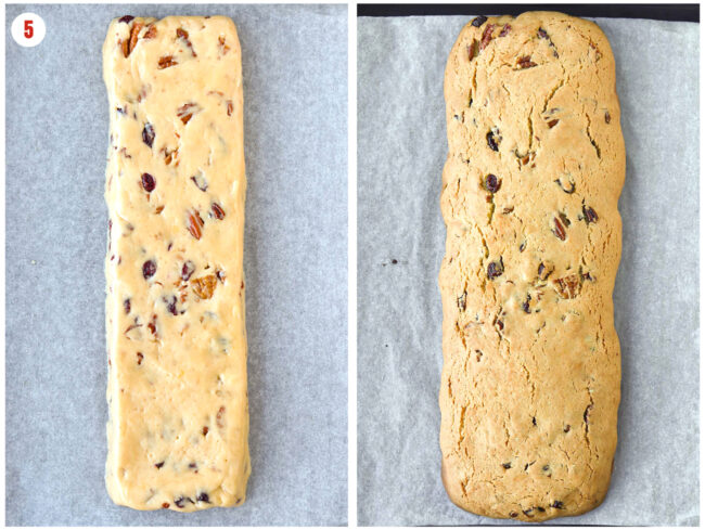 Unbaked and baked biscotti dough log on a parchment paper lined baking tray.