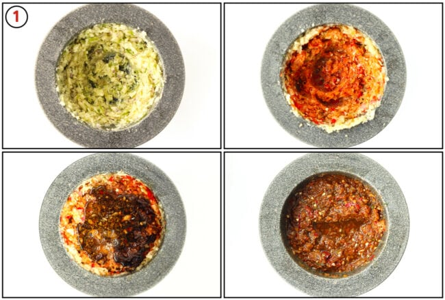 Process steps for making the marinade in a mortar and pestle.