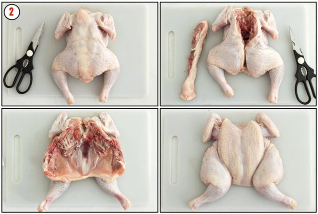 Process steps to spatchcock a whole chicken.