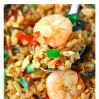 "Close up of spoon with fried rice and a prawn on a white plate. Text overlay ""Thai Roasted Chili Fried Rice with Prawns"" and ""thatspicychick.com""."