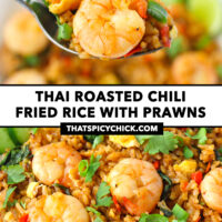 "Spoon holding up a bite of spicy fried rice and a prawn, and close-up of fried rice on a plate. Text overlay ""Thai Roasted Chili Fried Rice with Prawns"" and ""thatspicychick.com""."