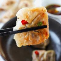 "Chopsticks holding up wonton to show crispy pan-fried bottom. Text overlay ""Spicy Thai Basil Wontons, Pork, Chicken & Prawn Kra Pow Filling"" and ""thatspicychick.com""."