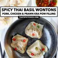 """Top view of plate and bowl with wontons. Text overlay """"Spicy Thai Basil Wontons with Pork, Chicken & Prawn Kra Pow Filling"""" and """"thatspicychick.com""""."""