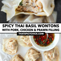 """Close-up of bitten into wonton in a bowl, and top view of pan-fried wontons and prik nam pla in a bowl on a plate. Text overlay """"Spicy Thai Basil Wontons with Pork, Chicken & Prawn Filling"""" and """"thatspicychick.com""""."""