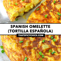 """Omelette wedge on a cake cutter, and whole omelette on a plate. Text overlay """"Spanish Omelette (Tortilla Española)"""" and """"thatspicychick.com""""."""
