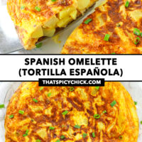"""Front view of a potato omelette wedge on a cake cutter, and top view on a plate. Text overlay """"Spanish Omelette (Tortilla Española) and """"thatspicychick.com""""."""