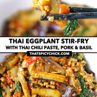 """Chopsticks holding up an eggplant strip, and close-up top view of bowl with an eggplant stir-fry dish. Text overlay """"Thai Eggplant Stir-fry with Thai Chili Paste, Pork & Basil"""" and """"thatspicychick.com""""."""