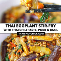 """Chopsticks holding up an eggplant strip, and front view of bowl with an eggplant stir-fry dish. Text overlay """"Thai Eggplant Stir-fry with Thai Chili Paste, Pork & Basil"""" and """"thatspicychick.com""""."""