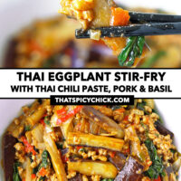 """Chopsticks holding up an eggplant strip, and top view of bowl with an eggplant stir-fry dish. Text overlay """"Thai Eggplant Stir-fry with Thai Chili Paste, Pork & Basil"""" and """"thatspicychick.com""""."""