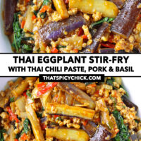 """Front and top view of bowl with an eggplant stir-fry dish. Text overlay """"Thai Eggplant Stir-fry with Thai Chili Paste, Pork & Basil"""" and """"thatspicychick.com""""."""