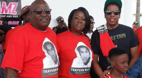 Jay Z gives an inspiring speech as he attends the 6th Annual Trayvon Martin Peace Walk in Miami
