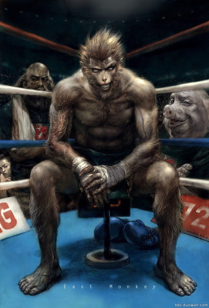 Journey to the West gang as seconds, with monkey bizness in the ring