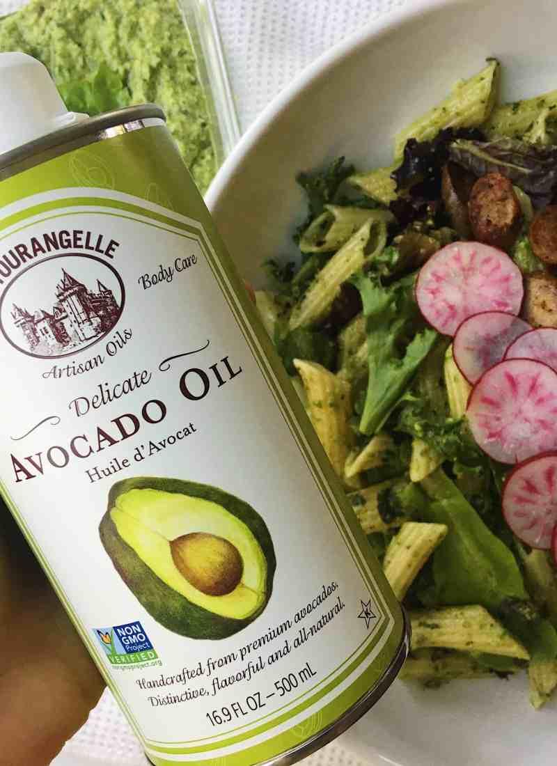 Vegan & Nut-Free, Summer Pea Pesto Featuring La Tourangelle Avocado Oil.