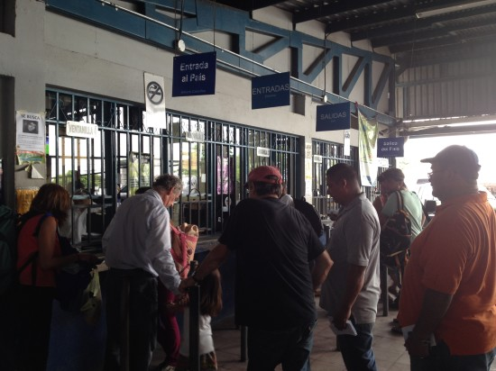 Standing in line at the border to leave Costa Rica and enter Panama