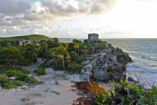 The beach near the Mayan ruins of Tulum