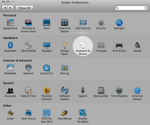 System Preferences - Keyboard & Mouse