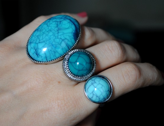 bagues h&m turquoises