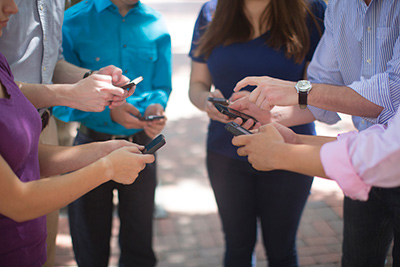 looking at phones