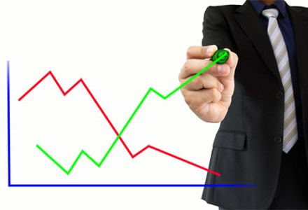 Man with positive graph