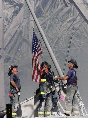 Firemen Raising the Flag