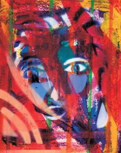 Self-Portrait. Rodger used intense colors and geometric shapes as key elements.