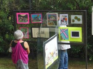 A fan admiring the art