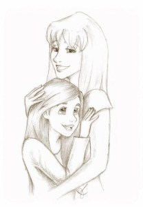 Self-portrait of Maura with her mom