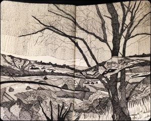 "Angela Weddle ""Sunrise over Davis Mountains"" pen & ink"