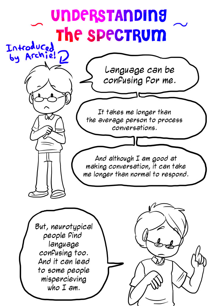language can be confusing for me. It takes me longer than the average person to process conversations. And although I a m good at making conversation, it can take me longer than normal to respond. But, neurotypical find language confusing too. And it can lead to some people misperceiving who I am.