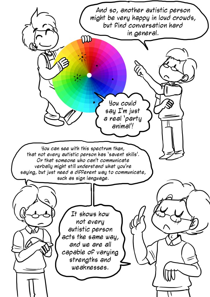 And so another autisticc person might be very happy in loud crowds but find conversation hard in general. You could say I'm just a real party animal! You can see with this spectrum than, that not every autistic kperson has savant skills. Or that someone who can't communicate verbally might still understand what you're saying, but just need a different way to communicate, such as sign language. It shows how not every autistic person acts the same way, and we are all capable of varying strengths and weaknesses.