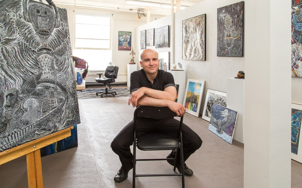 Ryan Smoluk in his studio